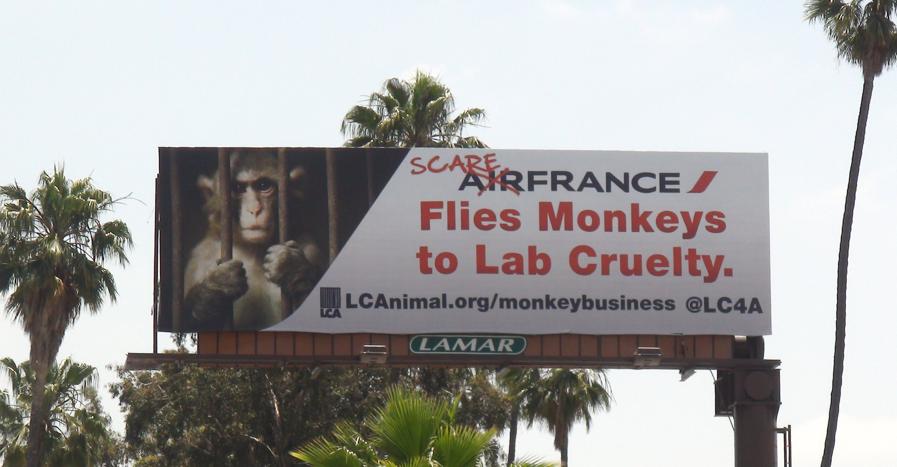 LCA's 'graffiti' billboard in Silverlake, CA for Air France Monkey Business campaign