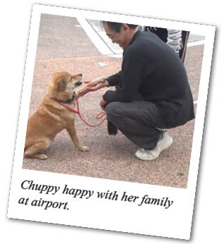 Chuppy happy with her family at airport.