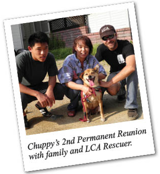 Chuppy's 2nd Permanent Reunion with family and LCA Rescuer.